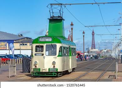 Blackpool,Lancashire/England - 28.09.2019 - Tram model 631 single deck livery cream & green in service on the promenade