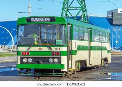 Blackpool,Lancashire/England - 28.09.2019 - Tram model 648 single deck cream & green livery parked at pleasure beach loop