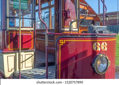 Blackpool,Lancashire/England - 28.09.2019 - Tram model 66 showing tram controls & stairs and headlight