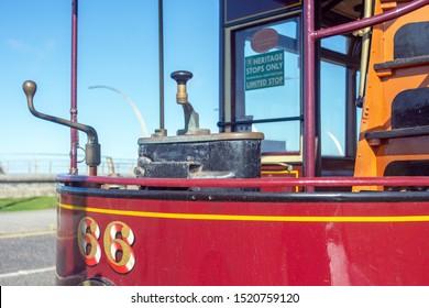 Blackpool,Lancashire/England - 28.09.2019 - Tram model 66 front view showing tram controls