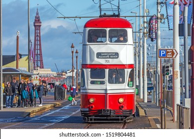 Blackpool,Lancashire/England - 28.09.2019 - Tram model 701 ballon double red & white livery in service