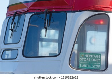 Blackpool,Lancashire/England - 28.09.2019 - Tram model 701 balloon double red & white livery front view of drivers windows and heritage sign