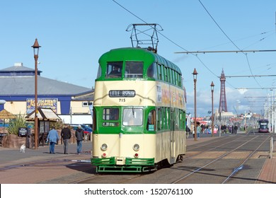 Blackpool,Lancashire/England - 28.09.2019 - Tram model 715 balloon double deck livery cream & green in service on the promenade