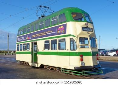 Blackpool,Lancashire/England - 28.09.2019 - Tram model 723 ballon double cream & green livery parked on pleasure beach loop