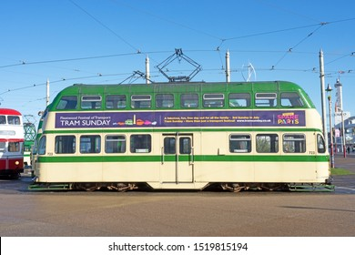 Blackpool,Lancashire/England - 28.09.2019 - Tram model 723 ballon double cream & green livery side view parked on pleasure loop
