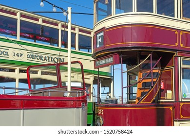 Blackpool,Lancashire/England - 28.09.2019 - Trams 227-147-66 parked at pleasure beach loop
