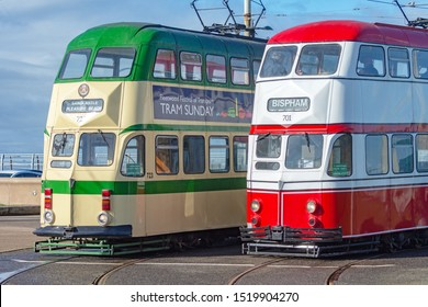 Blackpool,Lancashire/England - 28.09.2019 - Trams 723 & 701 balloon double deck livery colours cream & green and red & white side view