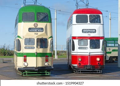 Blackpool,Lancashire/England - 28.09.2019 - Trams 723 & 701 balloon double deck livery colours cream & green and red & white front view