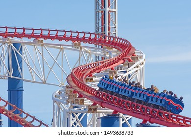 Blackpool,Lancashire/England - 29.08.2019 - A section of the Pepsi Max Big One roller coaster ride with back view of a high speed passenger carriage