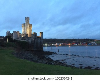 Blackrock Castle in sunset with lights on