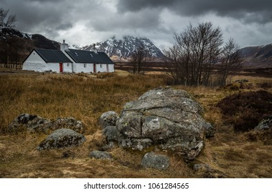 Blackrock Cottage, lies at the foot of Meall a' Bhuird on Rannoch Moor at the entrance to Glen Coe in the Scottish Highlands
