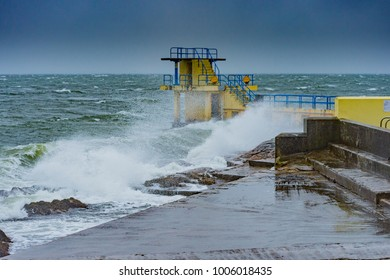 Blackrock diving board at Salthill, Co. Galway during a storm