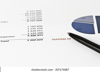 Black&Silver pen showing success on financial report