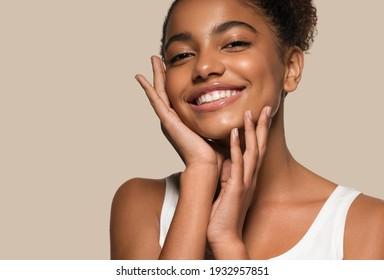 Blackskin beauty woman healthy happy smile clean skin