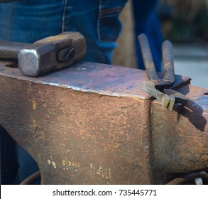 blacksmith tools and fixtures for hand forged metal, close-up