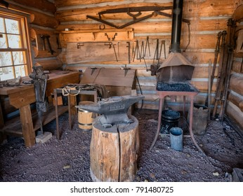 Blacksmith vintage workplace in Bluff City, Utah, USA