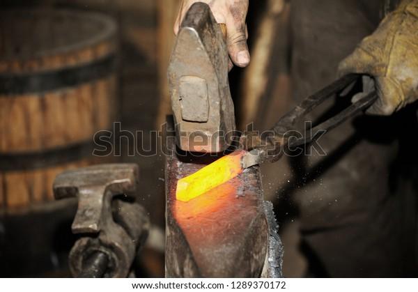 Blacksmith Working Metal Hammer On Anvil Stock Photo (Edit
