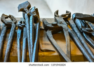 Blacksmiths tools lying on the table