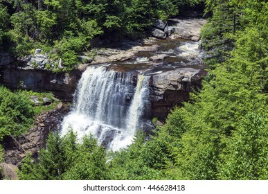 BLACKWATER FALLS STATE PARK, WV/USA - JUNE 30, 2016: A view of Blackwater Falls as seen through the trees on June 30 in Blackwater Falls State Park.