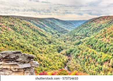 Blackwater river with Allegheny mountains in autumn at Lindy Point overlook