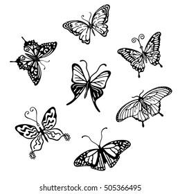 Black-white butterfly logo set