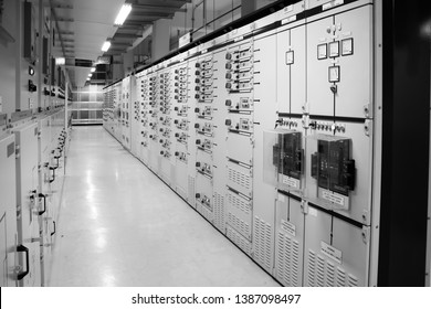 Black&White : Low Voltage Switchgear in electrical room at Power Plant