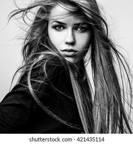 Black-white portrait of beautiful young girl.