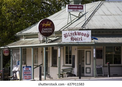 BLACKWOOD IN VICTORIA, AUSTRALIA - 30 OCTOBER, 2016: The historic Blackwood Hotel in the small Victorian town of Blackwood west of Melbourne.