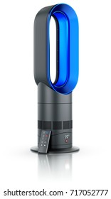 Bladeless air fan with remote controller - 3D illustration