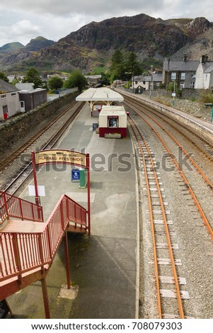 0fa0f155ccea Blaenau Ffestiniog Wales UK - August 22 2017  Mountains and slate mining  spoil tips towering