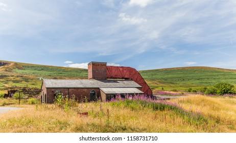Blaenavon,Wales, UK - July, 25, 2018: Heritage site Blaenavon Colliery Big Pit Natiional Museum in Wales, UK