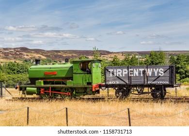 Blaenavon,Wales, UK - July, 25, 2018: Train at Heritage site Blaenavon Colliery Big Pit Natiuonal Museum in Wales, UK