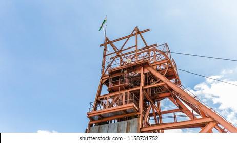 Blaenavon,Wales, UK - July, 25, 2018: Pithead at Heritage site Blaenavon Colliery Big Pit Natiional Museum in Wales, UK