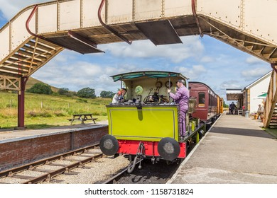 Blaenavon,Wales, UK - July, 25, 2018:  Heritage railway train Pontypool and Blaenavon, Wales, UK. The traIn rides to BIg Pit National Coal museum and along Garn Lakes.
