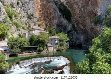 Blagaj Tekke (a Sufi lodge) stands by the source of the Buna river, Bosnia And Herzegovina