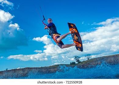 BLAGOVESCHENSKAYA, ANAPA, KRASNODAR REGION / RUSSIA - JULY 05 , 2017 - Kitesurfing on spot Bugazskaya kosa (Bugaz spite)
