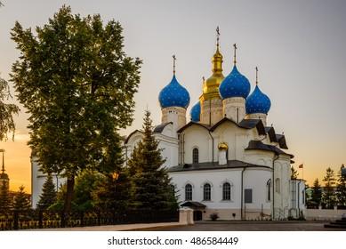 Blagoveshchensk cathedral in the Kazan Kremlin, Russia. Summer evening.