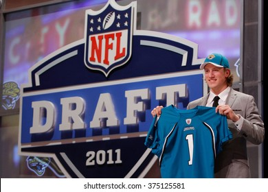 Blaine Gabbert is introduced as the tenth pick to the Jacksonville Jaguars at the NFL Draft 2011 at Radio City Music Hall in New York, NY.