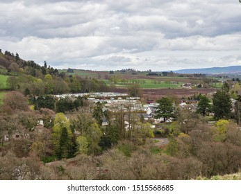 Blairgowrie, Scotland - 3rd May 2018: Looking over the Northern part of Blairgowrie and on to the Blairgowrie Holiday Park with its Static Caravans and Chalets. Blairgowrie, Perthshire, Scotland.