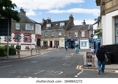 Blairgowrie, Scotland, UK - Sep 3rd, 2020 - City centre of Blairgowrie. Local shops. People walking in the street.