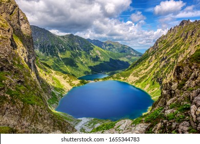 Blake lake and the Morskie Oko lake, or Eye of the Sea, in a valley of polish Tatra Mountains, are a popular tourist destination in Zakopane, Poland - Shutterstock ID 1655344783