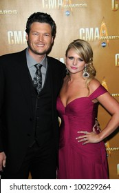 Blake Shelton and Miranda Lambert at the 44th Annual CMA Awards, Bridgestone Arena, Nashville, TN.  11-10-10