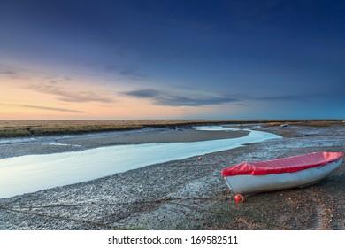 Blakeney marshes at sunset in North Norfolk