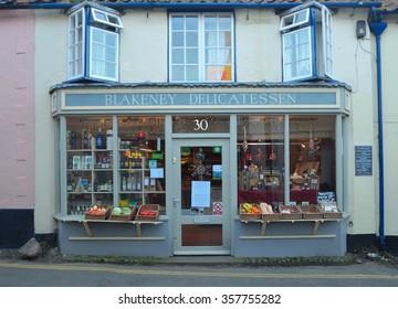 BLAKNEY, NORFOLK, ENGLAND - DECEMBER 29, 2015: Delicatessen shop front Blakney Norfolk.
