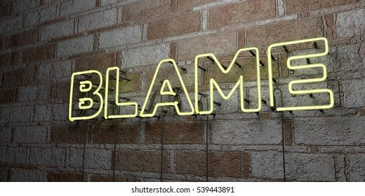 BLAME - Glowing Neon Sign on stonework wall - 3D rendered royalty free stock illustration.  Can be used for online banner ads and direct mailers.