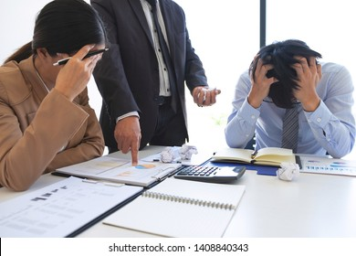 Blaming business concept, Senior executive manager blaming employee for mistake or failure, business team have disagreement in office arguing on work issues.