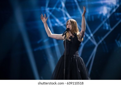 Blance. Representative of Belgium in Eurovision song contest 2017. Dress rehearsal on the main stage of contest before the final performance. Kyiv, Ukraine. May 12, 2017