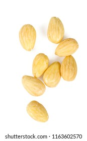 blanched almonds isolated on white