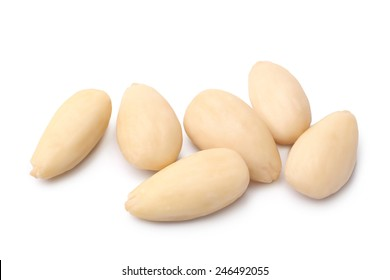 Blanched almonds on white background