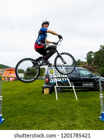 BLANCHLAND, NORTHUMBERLAND, ENGLAND, AUGUST 27, 2018. A domonstration of Extreme Mountain Biking at Blanchland Village Show. August 27, 2018, Blanchland, Northumberland, England, UK.